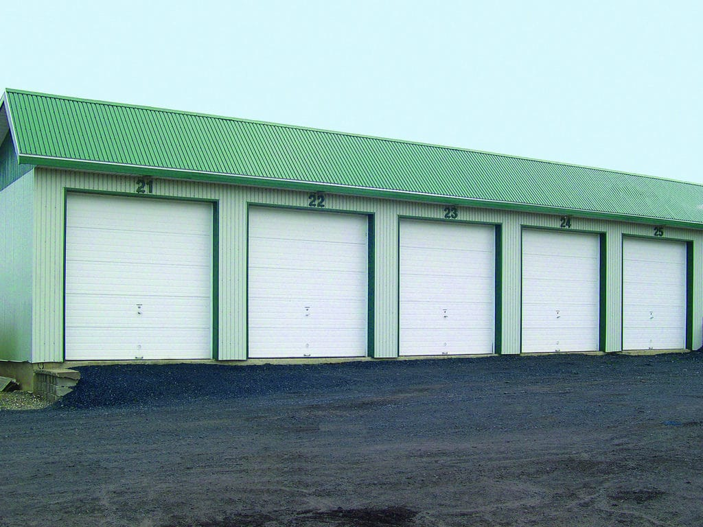 White commercial garage doors