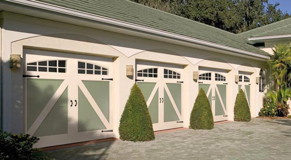 White and green homestead style garage doors