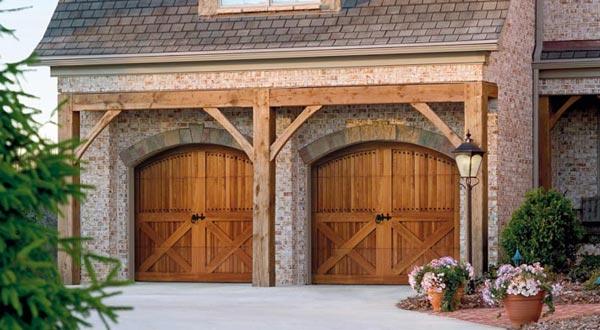 wooden homestead style garage doors