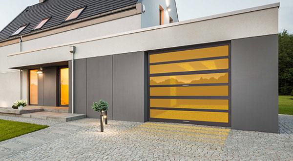 Modern render of garage door with yellow glass