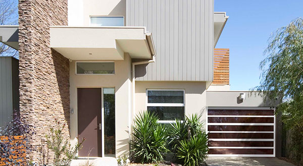 render of modern house with luxury garage door with brown panels